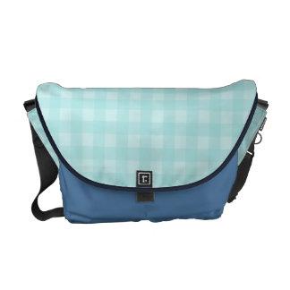 Retro Blue Gingham Checkered Pattern Background Messenger Bag
