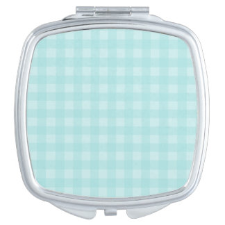 Retro Blue Gingham Checkered Pattern Background Mirrors For Makeup