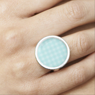 Retro Blue Gingham Checkered Pattern Background Photo Rings