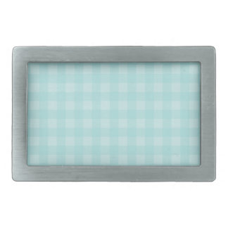 Retro Blue Gingham Checkered Pattern Background Rectangular Belt Buckle