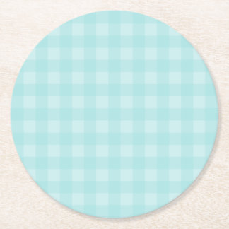 Retro Blue Gingham Checkered Pattern Background Round Paper Coaster