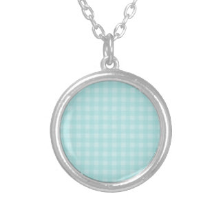 Retro Blue Gingham Checkered Pattern Background Round Pendant Necklace