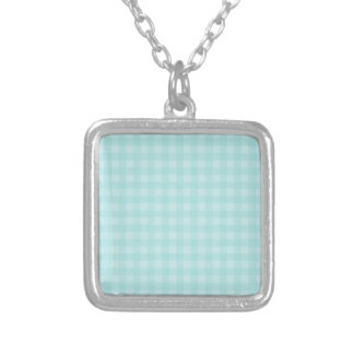 Retro Blue Gingham Checkered Pattern Background Silver Plated Necklace