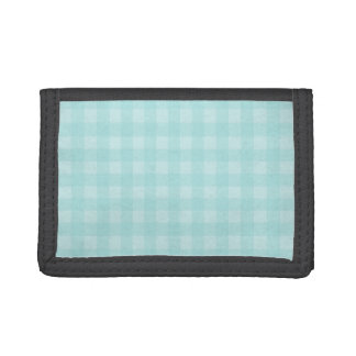 Retro Blue Gingham Checkered Pattern Background Trifold Wallets