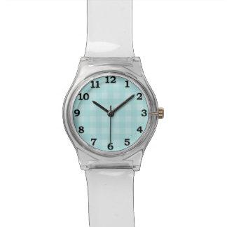 Retro Blue Gingham Checkered Pattern Background Wristwatch