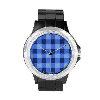Retro Blue Gingham Wrist Watch