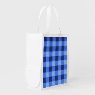 Retro Blue Gingham Reusable Grocery Bag