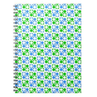 Retro Blue Green Circle Square Pattern