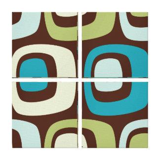 Retro Blue Green Circles Quad Panel Wall Decor Canvas Print