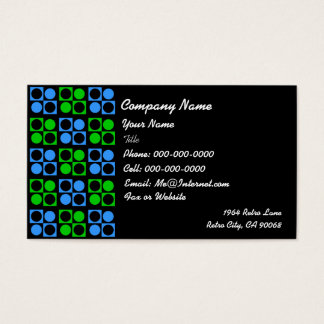 Retro Blue Green Square Circle on Black Business Business Card