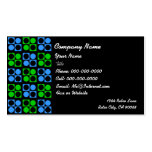 Retro Blue Green Square Circle on Black Business Pack Of Standard Business Cards