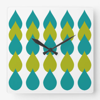 Retro Blue Green Square Wall Clock