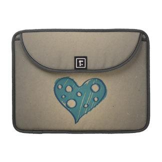 Retro Blue Heart Sepia Vintage Design Sleeve For MacBooks