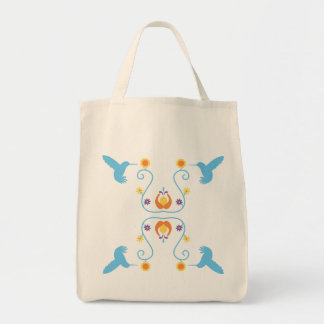 Retro Blue Hummingbirds and Flowers