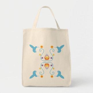 Retro Blue Hummingbirds and Flowers Tote Bag