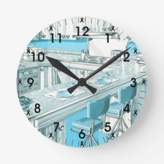 Retro kitchen wall clocks zazzlecouk for Blue kitchen wall clocks