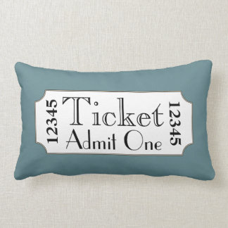 Retro Blue Movie Ticket Cinema Pillow Cushion