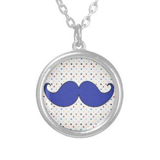 Retro Blue Mustache Moustache Pendant