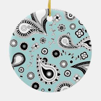 Retro Blue Paisley Pattern Round Ceramic Decoration