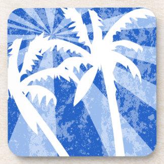 Retro Blue Palm Tree Beverage Coaster