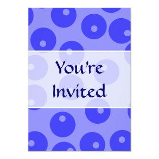 Retro blue pattern. Circles design. 13 Cm X 18 Cm Invitation Card