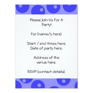 Retro blue pattern. Circles design. 17 Cm X 22 Cm Invitation Card