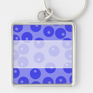 Retro blue pattern Circles design Keychains