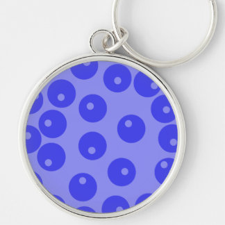 Retro blue pattern. Circles design. Key Chain