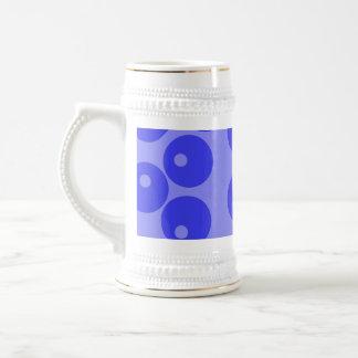 Retro blue pattern. Circles design. Mugs