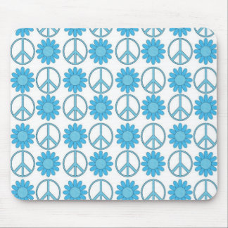 Retro Blue Peace Symbols and Flowers Mouse Pad