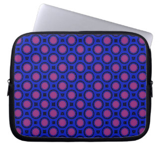 retro blue pink circle pattern laptop computer sleeves