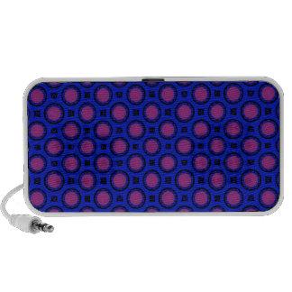 retro blue pink circle pattern speakers