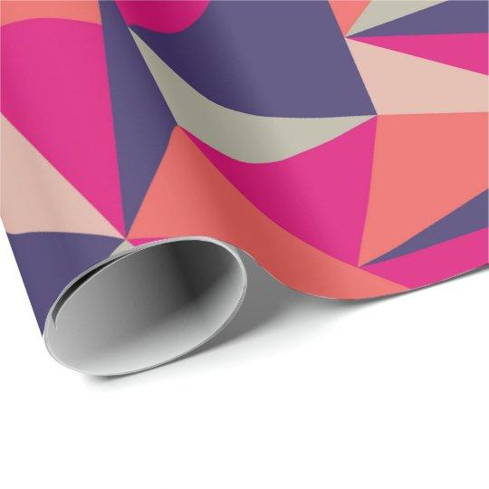 Retro Blue Pink Triangle Geometric Gift Wrap Paper