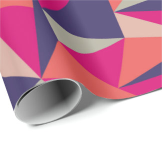 Retro Blue Pink Triangle Geometric Gift Wrap Paper Wrapping Paper