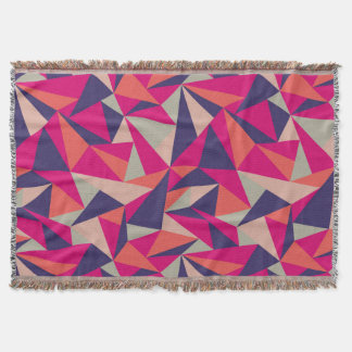 Retro Blue Pink Triangle Geometric Throw Blanket