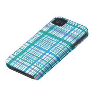 Retro Blue Plaid Checks Pattern iPhone 4 CaseMate iPhone 4 Cases