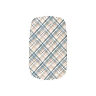 Retro Blue Plaid Minx Nail Art