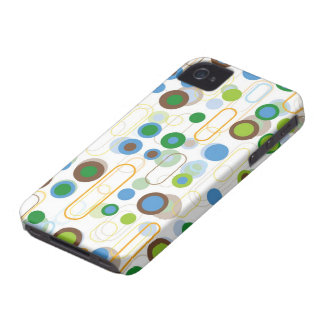 Retro Blue Pods Dots Pattern iPhone 4 CaseMate iPhone 4 Case-Mate Cases