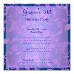Retro Blue Purple Metallic Floral 21st Birthday 1 Personalized Invitation