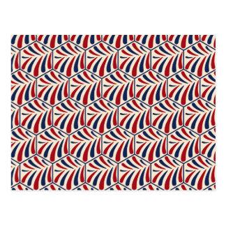 Retro blue red hexagon pattern postcard
