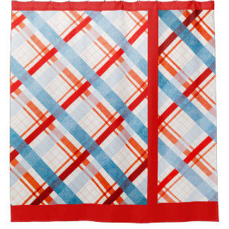 Retro Blue&Red Pattern Shower Curtain