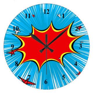 Retro Blue & Red Stars Comic Explosion Clock