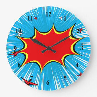 Retro Blue & Red Stars Comic Explosion Large Clock