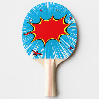 Retro Blue & Red Stars Comic Explosion Ping Pong Paddle