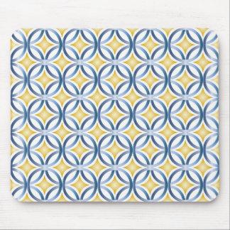 Retro Blue & Yellow Pattern Mouse Mat