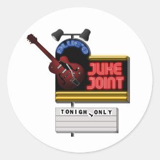 Retro Blues Juke Joint Round Sticker