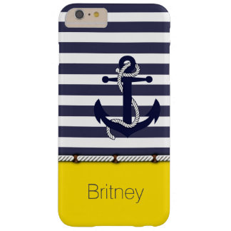 Retro Boat Anchor Cute Stripes Pattern On Yellow Barely There iPhone 6 Plus Case