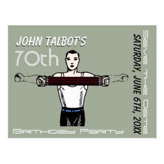 Retro Bodybuilding 70th Birthday Save the Date Postcard