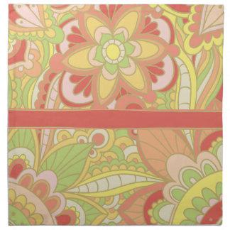 Retro Boho, Floral Cloth Napkins