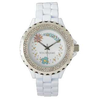 Retro Boho Floral Cute Personalized Name Girly Watch